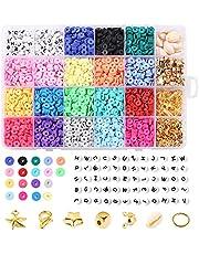 4000 stuks kleiparels, 6 mm vlakke, ronde kralen met 270 sieradenproductiekit, 20 kleuren, handgemaakte platte kralen voor doe-het-zelf armbanden, oorbellen, halskettingen, sieraden maken