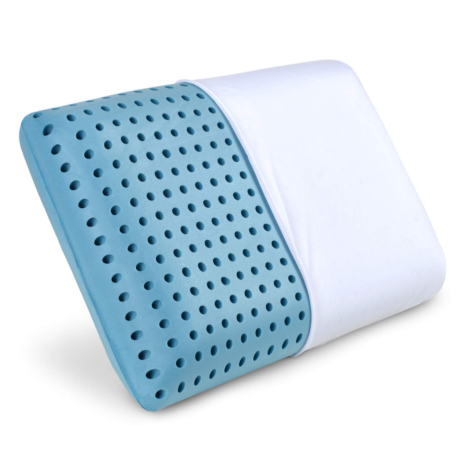 PharMeDoc Blue Cooling Memory Foam Pillow Ventilated Hole-Punch Memory Foam Bed Pillow Infused with Cooling Gel incl. Removable Pillow Case - Standard Size...