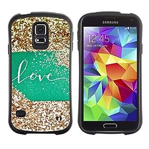 Paccase / Suave TPU GEL Caso Carcasa de Protección Funda para - Glitter Green Sign Gold Sweet - Samsung Galaxy S5 SM-G900