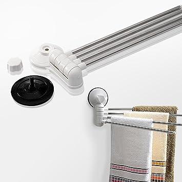 Xavior - Soporte para toallas (acero inoxidable, 4 barras giratorias, organizador de almacenamiento para baño, con ventosa, no requiere herramientas): ...