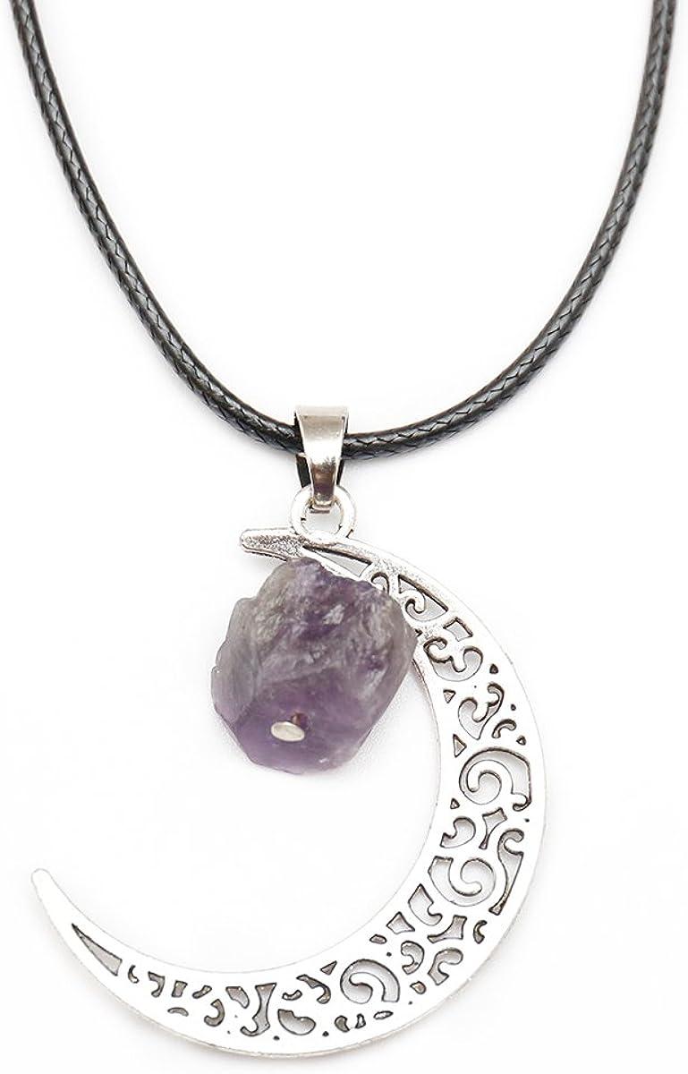 """Large  Pentagram Stone Rose Quartz Amethyst Necklace Pendant Silver Necklace 30/"""""""