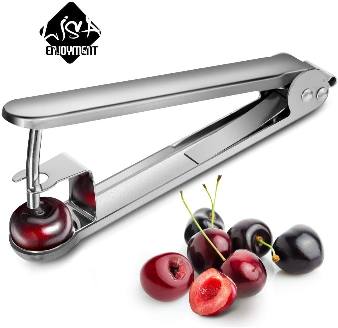 LISA ENJOYMENT Cherry Pitter Cherry and Olive Pitter Heavy Duty 304 Stainless Steel Olive Pitter Remover Seed Remover Portable Cherry Pitter Tool Kitchen aid