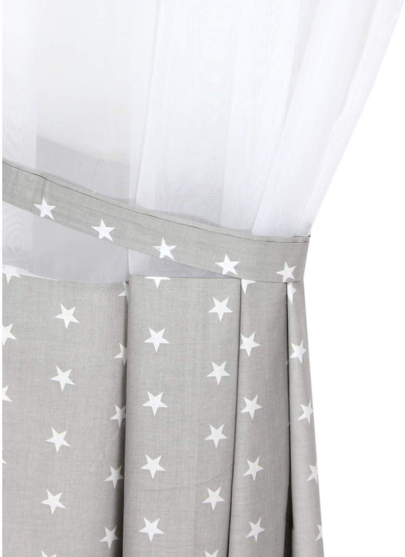 Gr/ö/ße: ca TupTam Kinderzimmer Voile Vorhang mit Tunnelzug Set Farbe: Rosette Grau 140 x 160 cm