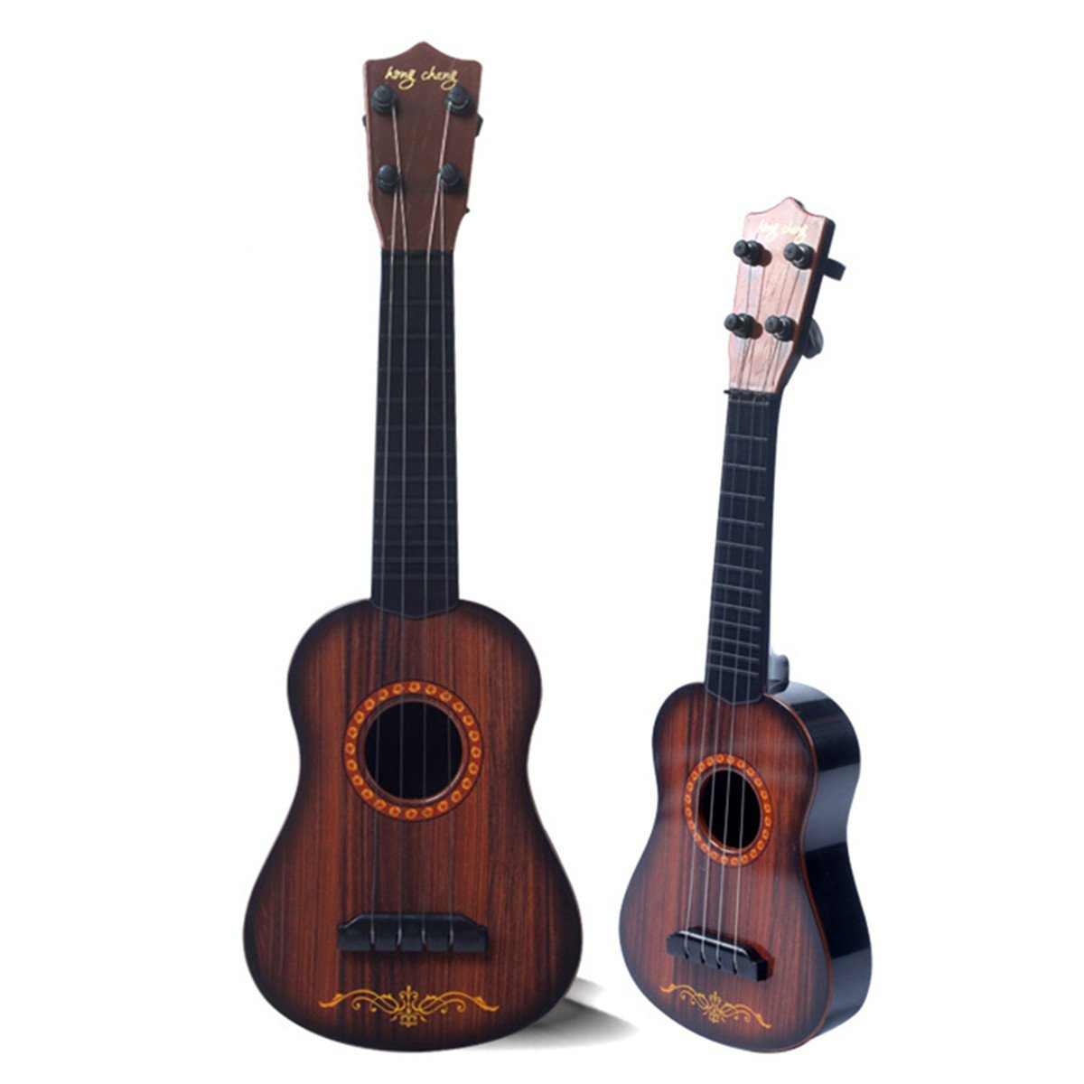 Aissimio 4 Strings Musical Plastic Toy Educational Toy Fun Learn Musical Instrument Toys Ukulele Small Guitar For Beginners Kids Child 42*13.5*5cm pears