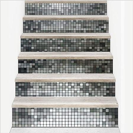 6 Pcs 3D Pegatinas De Escaleras. Pegatinas De Suelo Impermeables De Mosaico De Bricolaje Autoadhesivas. Escalera De Casa Decorada 18 × 100Cm,Silver: Amazon.es: Hogar