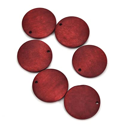 10pcs Wooden Discs Jewelry Making Crafts Diy Earrings Round Wood Pieces For Jewelry Making 25mmx25mm Red