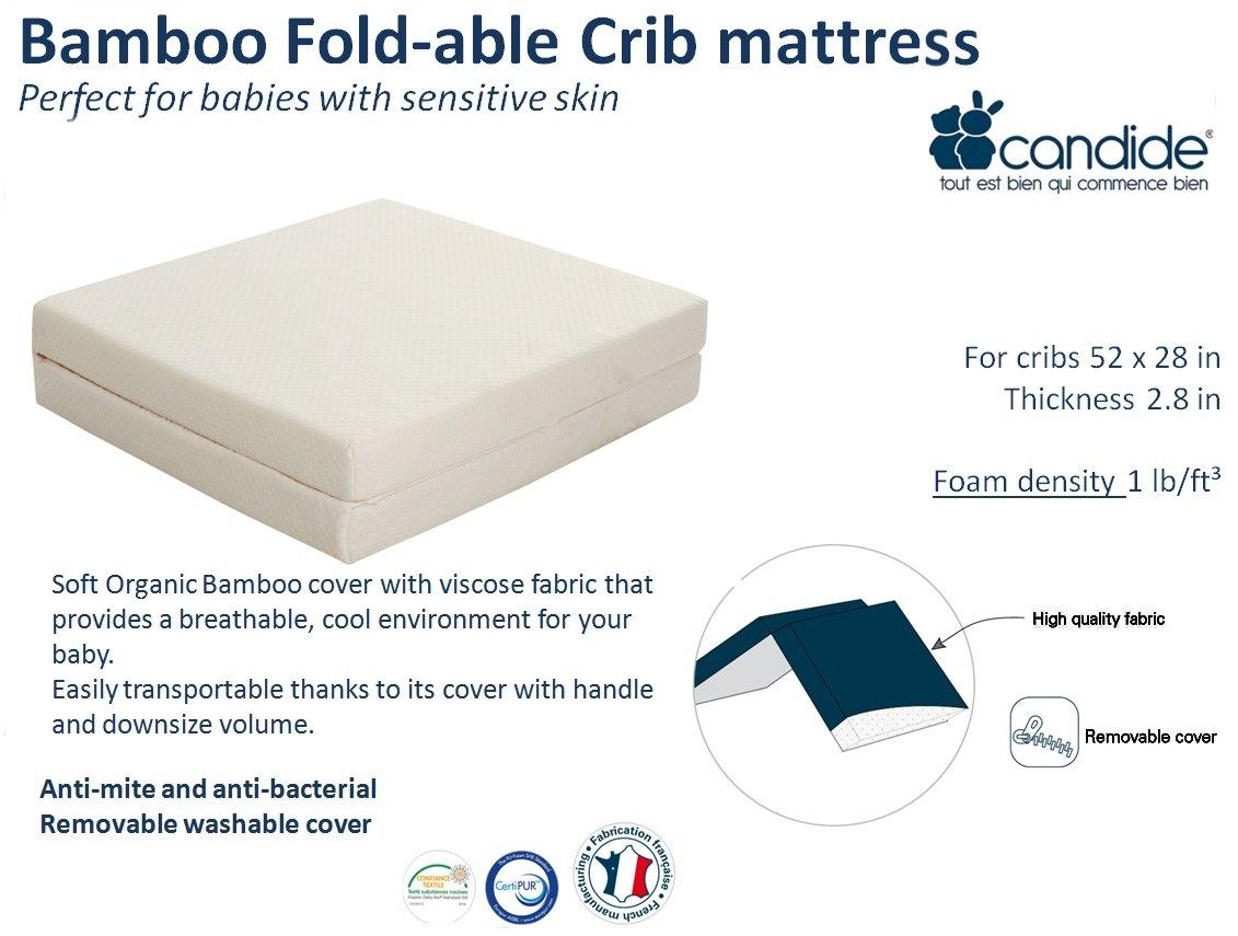 amazon com candide baby bamboo fold able crib mattress baby