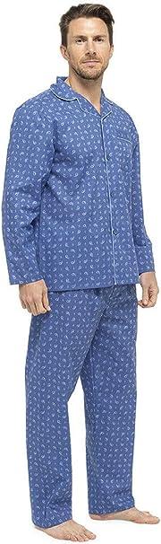 Juego de pijama de algodón para hombre, diseño de rayas con flanela.