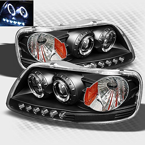 price tracking for 1997 2003 ford f 150 twin halo led projector headlights black head lights. Black Bedroom Furniture Sets. Home Design Ideas