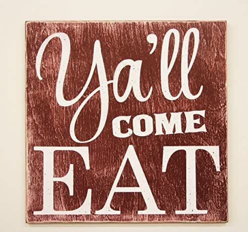 Amazon.com: Y'all Come Eat Wood Kitchen Sign: Handmade