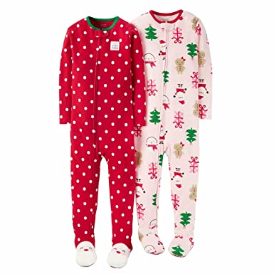 toddler girls footed fleece christmas pajamas 2 pack 3t best gift ever