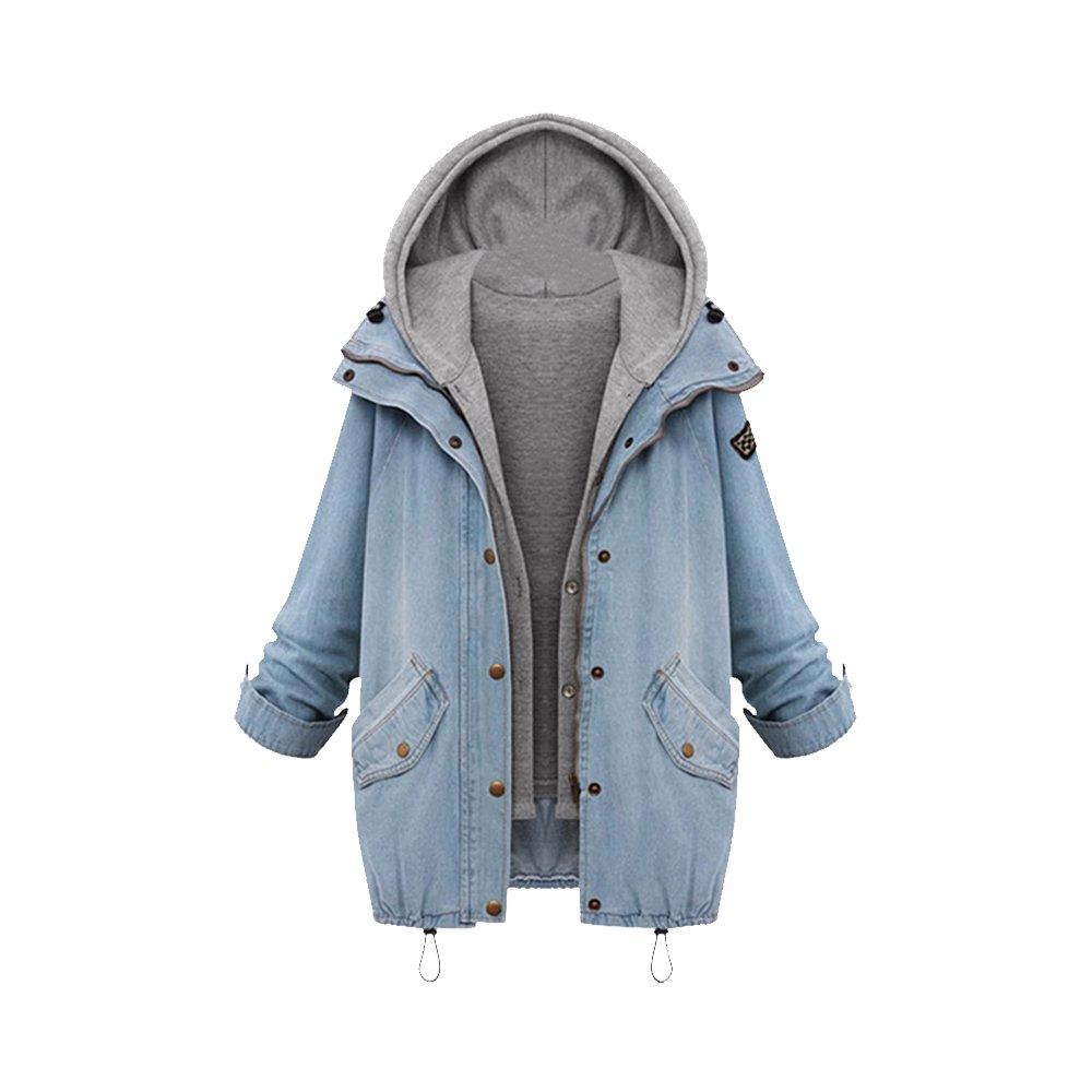 OCHENTA Women's Loose Fashion Slim Fit Hooded Cotton Denim Vest Jacket OWY1-8371