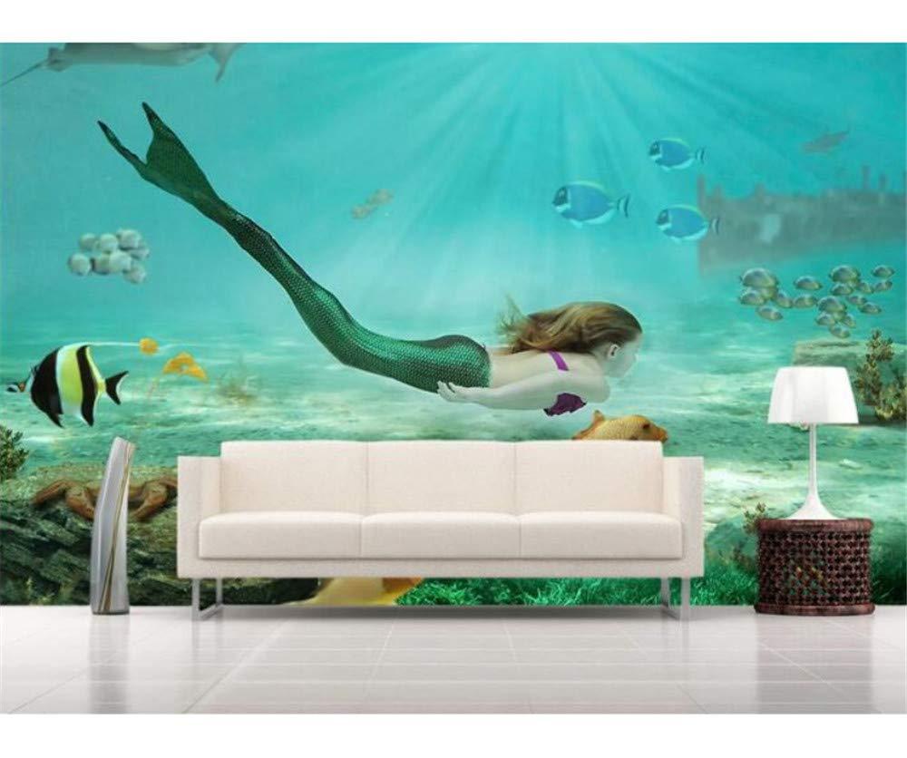 Weaeo 3D壁紙カスタム壁画不織3D部屋の壁紙3D海底世界の人魚の絵画壁画3Dの壁紙の壁紙-250X175Cm B07H8HLTQM