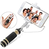 Photron SLF50 Selfie Stick Mini Foldable Wired Tripod Monopod with Aux cable For iPhone, Android,Black
