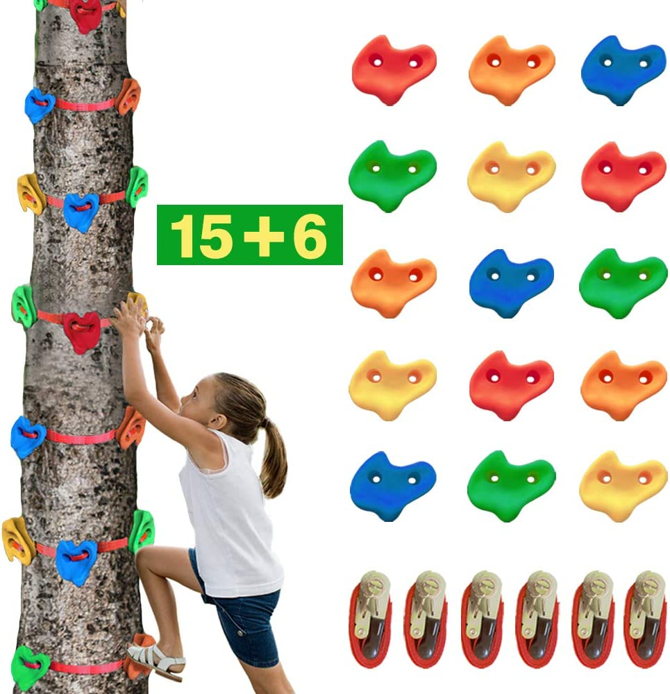 Trsmima 15 Pcs Tree Climbing Holds, Rock Climbing Holds for Kids and Adult, with 6 Ratchet Straps, Indoor and Outdoor Ninja Warrior Obstacle Course Training