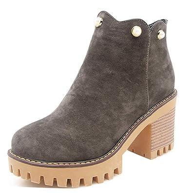 Easemax Femme Classique Perlés Talon Bloc Chunky Low Boots Bottines   Amazon.fr  Chaussures et Sacs 80b093341adc