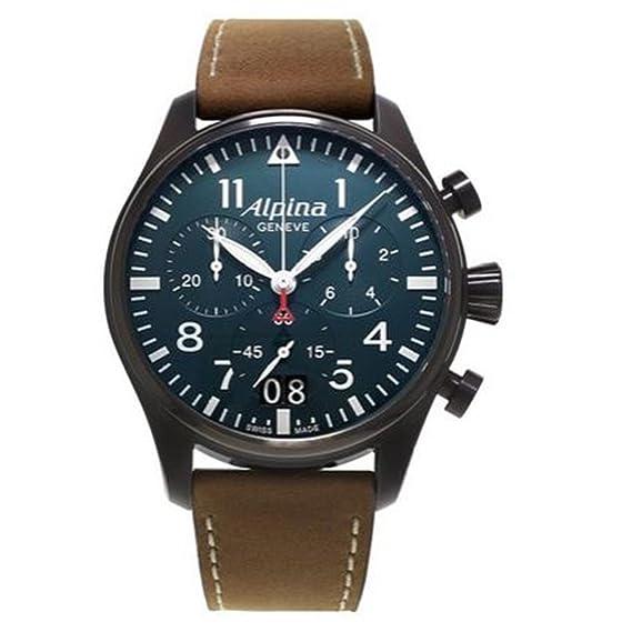 Cronógrafo de Cuarzo para Hombre-Reloj Alpina Piel 372N4FBS6: Amazon.es: Relojes