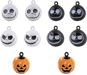 BONANA 10pcs Skull Pumpkin Pet Cat Collar Bells Halloween Tree Decor Jewelry Crafts Charms Pendants(0.7 inch Diameter)