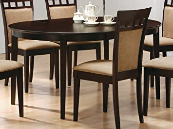 coaster contemporary oval dining table cappuccino finish - Oval Dining Room