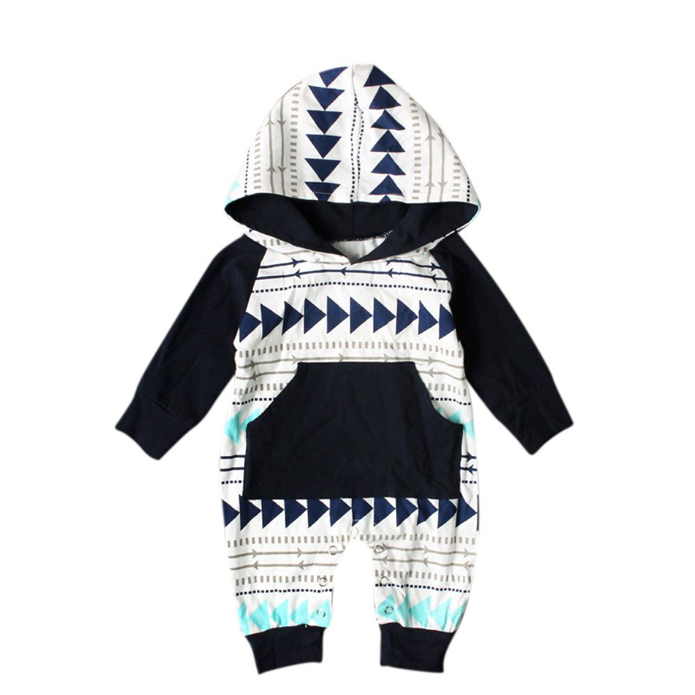 Newborn Infant Baby Boys Girls Geometry Print Hooded Romper Jumpsuit Outfits oldeagle Baby Romper Bodysuit