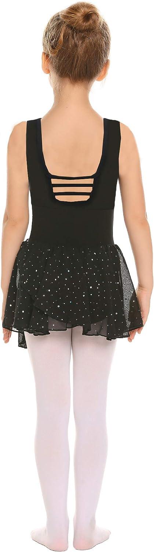 Zaclotre Little Girls Hollow Back Ballet Leotard with Skirt Dance Dresses