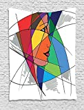 asddcdfdd Abstract Tapestry, Woman Face in Colorful Artistic Design Hand Drawn Sketchy Display Modern Feminine, Wall Hanging for Bedroom Living Room Dorm, 60 W X 80 L Inches, Multicolor