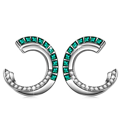 49a1f112e ANGEL NINA Hoop Earrings for Women, 925 Sterling Silver, Kleopatra  Collection, Crystals from Swarovski Emerald, Elegant Jewellery Gift Box, ...