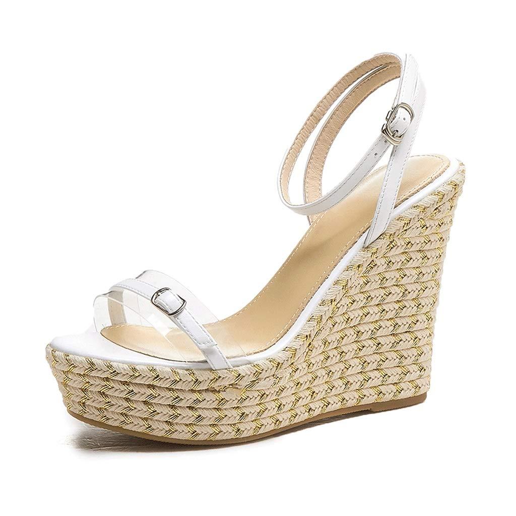 - SANDALEN Damen Elegante Transparente Schnalle Mit High Heel Weiszlig; Super High Heel Hanfseil Gewebte Sexy Open Toe Wedge (Farbe   Weiß 12cm, Größe   34)