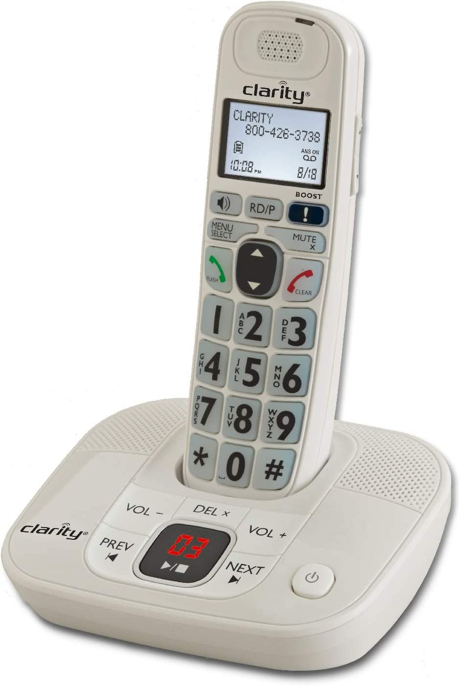 Clarity 53714 Dect 6.0 Amplified Cordless Phone with Digital Answering System VoIP Phone and Device,White,D714