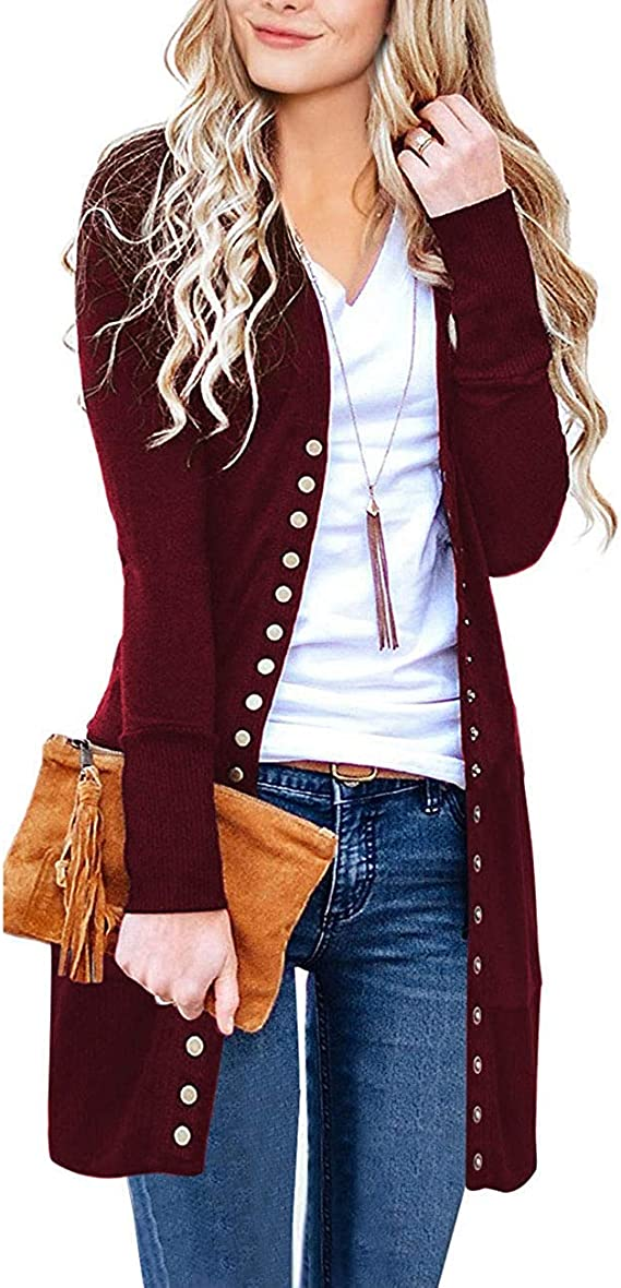 Edjude Womens Long Cardigans V Neck Long Sleeve Button Down Loose Knit Solid Casual Cardigans Sweater with Pockets