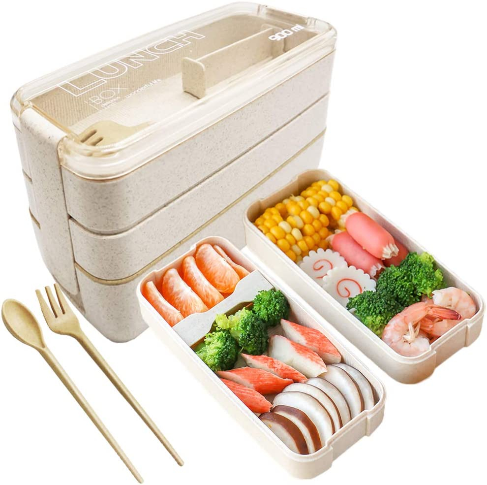 30oz/900ml Bento Lunch Box Wheat Straw Leak-proof Eco-Friendly Bento Lunch Box,Japanese Lunch Box with Dividers,Spoon,fork for Kids and Adults