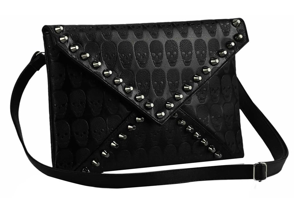 niceEshop(TM) Bolso de mano con correa, forma de sobre, hecho de cuero sintético, diseño de calaveras