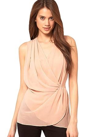 c8192e45c7c302 Unomatch Women Chiffon Sleevless Shirt and Blouse Pink at Amazon ...