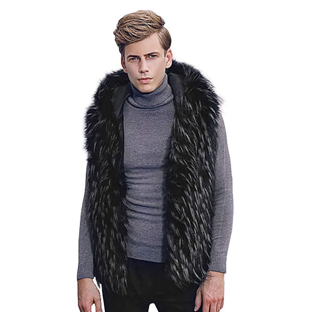 PASATO Men Faux Fur Vest Jacket Sleeveless Winter Body Warm Coat Hooded Waistcoat Gilet Top Blouse Featured(Black, M)