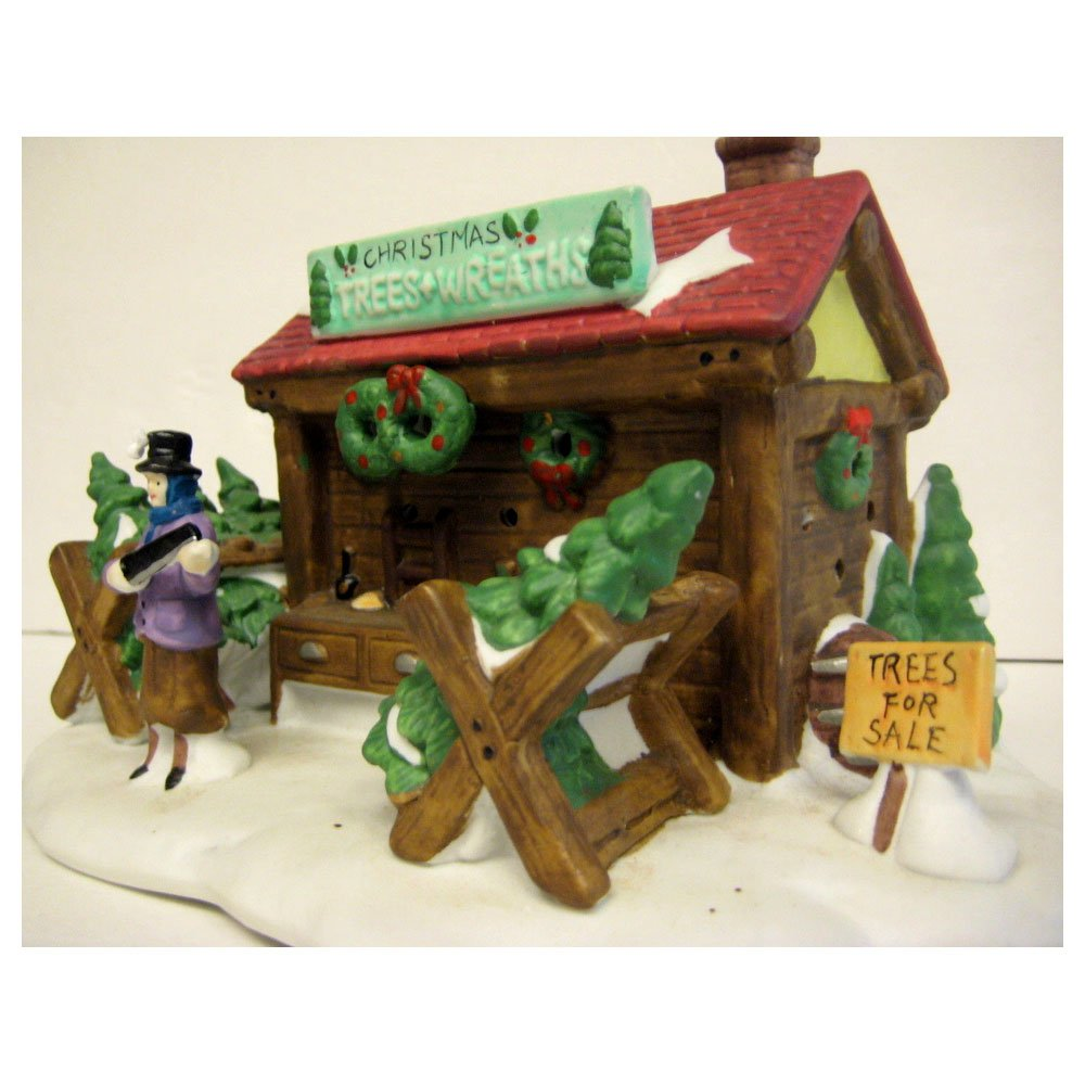 Dickens Collectables Towne Series ''Christmas Trees & Wreaths'' Tree Lot Lighted Porcelain House (1996)