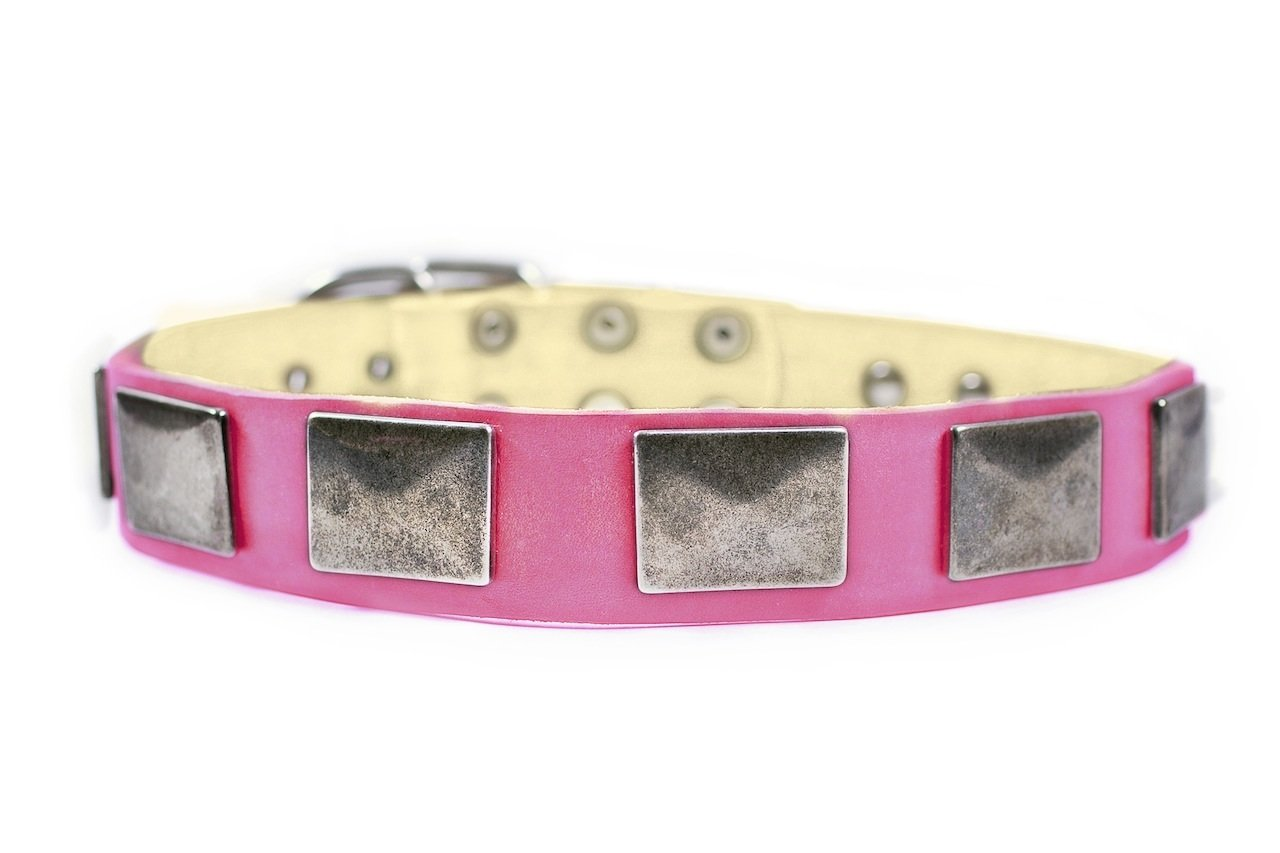 Dean & Tyler  Tyler'S Vintage Dog Collar with Vintage Nickel Plates, 34-Inch by 1-Inch Leather, Fits Neck 32-Inch to 36-Inch, Pink
