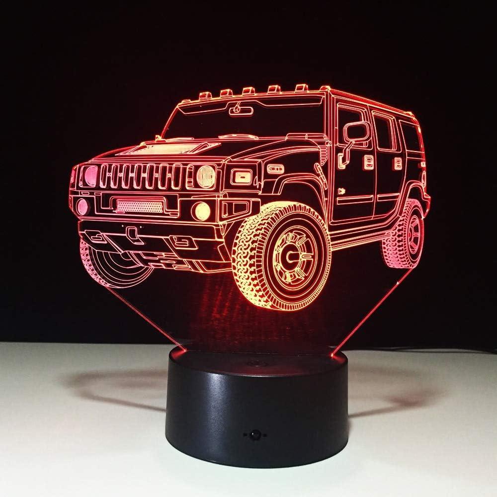 Lampara 3D,Regalos Novedosos En Todo El Mundo Cool Suv Car Vehículo Forma Lámpara 3D 7 Colores Cambiar Led Lámpara De Noche Mesa De Escritorio Luces De Decoración