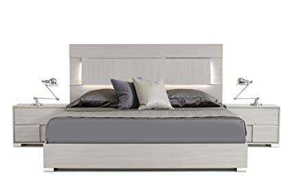 new concept e2377 b46f8 Limari Home The Willem Collection Modern Italian Crafted Veneer Platform  King Size Bed With Chrome Acrylic Accent Legs & LED Lit Headboard, King,  Gray