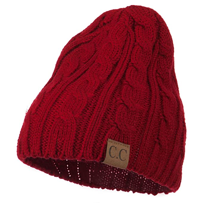 78cf4927ba0 Amazon.com  Solid Cable Knit Beanie - Red OSFM  Clothing
