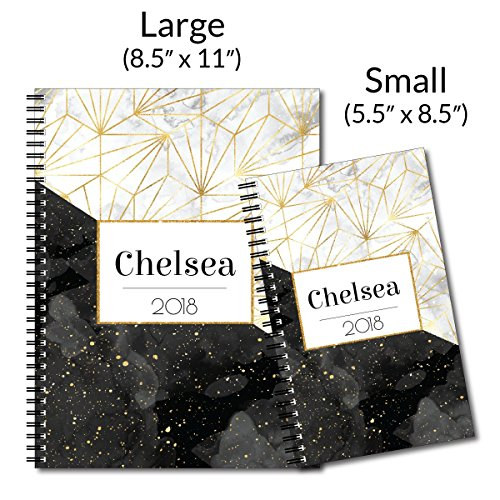 Specks of Gold Personalized Modern Marble Spiral Notebook/Journal, 120 College Ruled or Checklist Pages, durable laminated cover, and wire-o spiral. 8.5x11 | 5.5x8.5 | Made in the USA Photo #3