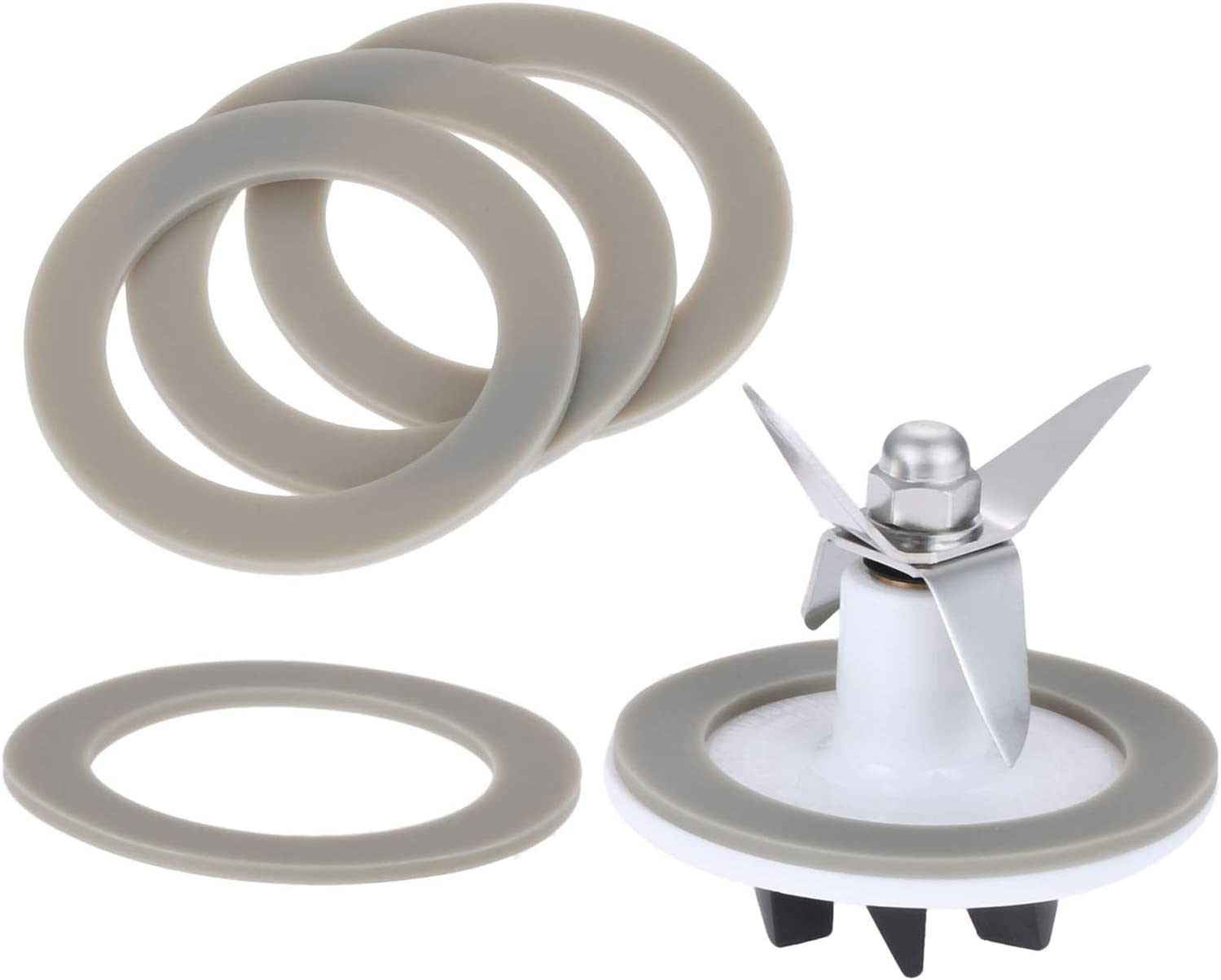 SPB-456-2 White Blade Cutting Cutter with 5 Rubber Sealing Gasket Seal O-ring, Replacement for Cuisinart Blenders Models # BFP703 BFP-703 BFP703B BFP-703CH SPB7 SPB-7BK CB8 CB9 BFP-703
