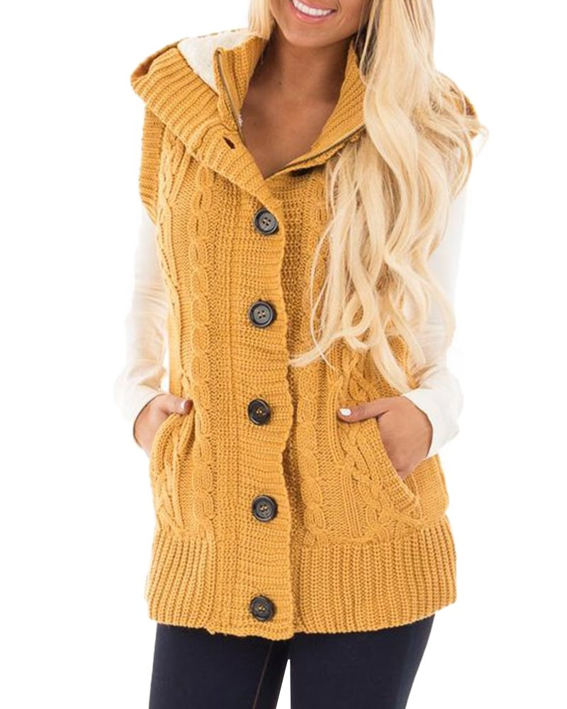 YOMISOY Autumun Women Hooded Vest Fleece Sweater Down Cardigan