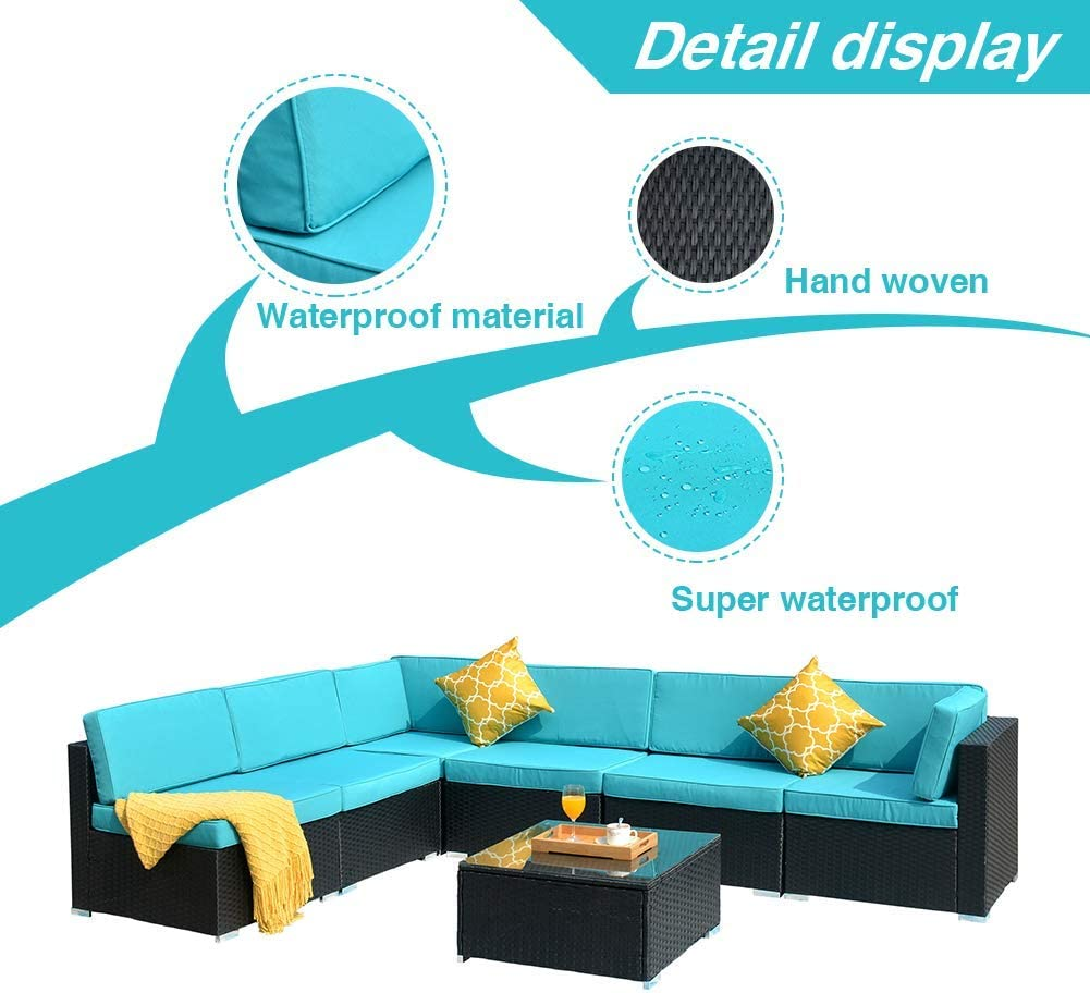 DKLGG 7 Pieces Patio Furniture, Outdoor Rattan Conversation Set, Blue : Garden & Outdoor