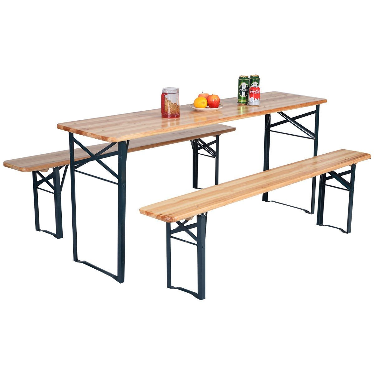 Amazon.com: 3 PCS Beer Table Bench Set Folding Wooden Top Picnic Table  Patio Garden: Kitchen U0026 Dining