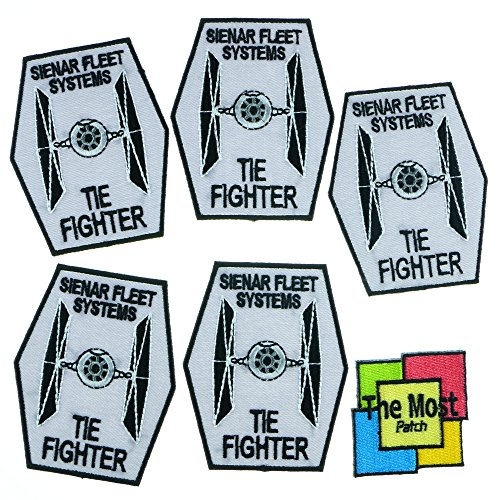 Lot of 6 (5+1) Star Wars Tie Fighter Ship Sienar Fleet Systems Movies Logo Embroidered Iron/Sew On Patch Variations (Black-Gray)