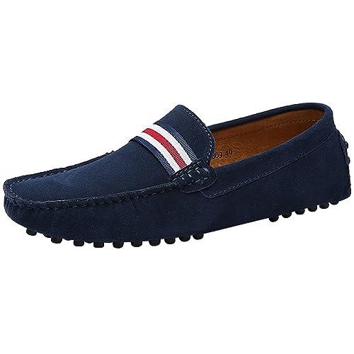 Jamron Hombres Elegante OTAN-Raya Conducción Mocasines Zapatos Comodidad Hecho a Mano Ante Mocasín Zapatillas: Amazon.es: Zapatos y complementos