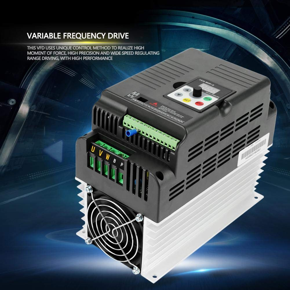 VFD Inverter Single to 3 Phase, 220V Variable Frequency Drive,High Precision,Good Anti-Trip Performance,Speed Controller for 3-Phase 5.5kW AC Motor by Thincol (Image #3)