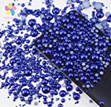 1000pcs Mixed Size 2-10mm Half Round Flatback Imitation Pearls ABS Resin beads (dark blue)