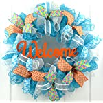 Everyday-Welcome-Wreath-Spring-Door-Wreath-Summer-Mesh-Wreath-Orange-Turquoise-White-Teal