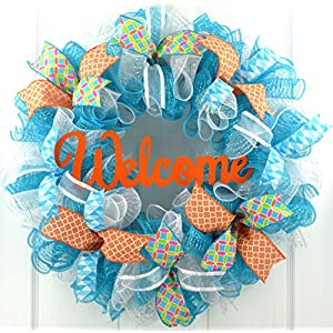 Everyday Welcome Wreath | Spring Door Wreath | Summer Mesh Wreath | Orange Turquoise White Teal 50
